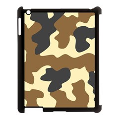 Initial Camouflage Camo Netting Brown Black Apple Ipad 3/4 Case (black) by Mariart