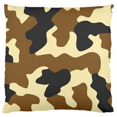 Initial Camouflage Camo Netting Brown Black Large Flano Cushion Case (two Sides) by Mariart