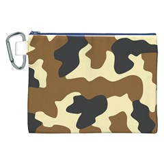 Initial Camouflage Camo Netting Brown Black Canvas Cosmetic Bag (xxl) by Mariart