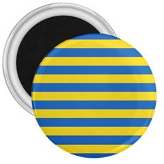 Horizontal Blue Yellow Line 3  Magnets by Mariart