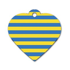 Horizontal Blue Yellow Line Dog Tag Heart (one Side) by Mariart