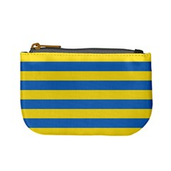 Horizontal Blue Yellow Line Mini Coin Purses by Mariart