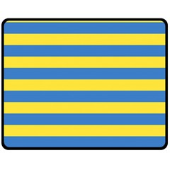 Horizontal Blue Yellow Line Double Sided Fleece Blanket (medium)  by Mariart