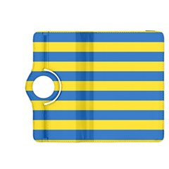 Horizontal Blue Yellow Line Kindle Fire Hdx 8 9  Flip 360 Case by Mariart