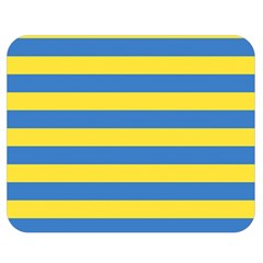 Horizontal Blue Yellow Line Double Sided Flano Blanket (medium)  by Mariart