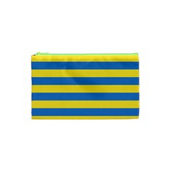 Horizontal Blue Yellow Line Cosmetic Bag (xs) by Mariart