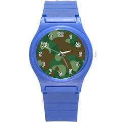 Initial Camouflage Como Green Brown Round Plastic Sport Watch (s) by Mariart