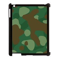 Initial Camouflage Como Green Brown Apple Ipad 3/4 Case (black) by Mariart