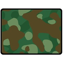 Initial Camouflage Como Green Brown Double Sided Fleece Blanket (large)  by Mariart