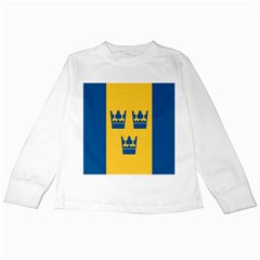 King Queen Crown Blue Yellow Kids Long Sleeve T Shirts by Mariart