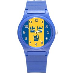 King Queen Crown Blue Yellow Round Plastic Sport Watch (s) by Mariart