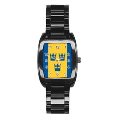 King Queen Crown Blue Yellow Stainless Steel Barrel Watch by Mariart