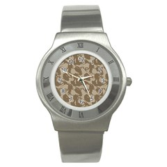 Initial Camouflage Brown Stainless Steel Watch by Mariart