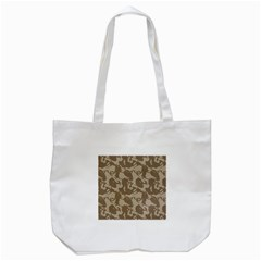 Initial Camouflage Brown Tote Bag (white) by Mariart