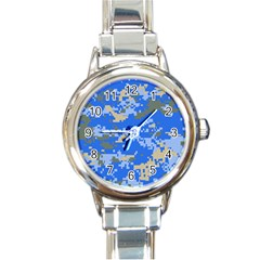 Oceanic Camouflage Blue Grey Map Round Italian Charm Watch by Mariart