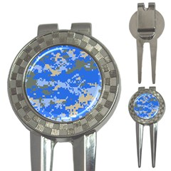 Oceanic Camouflage Blue Grey Map 3 In 1 Golf Divots by Mariart