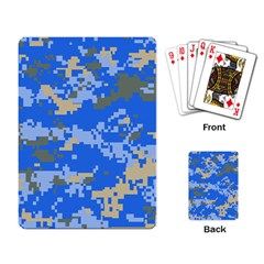 Oceanic Camouflage Blue Grey Map Playing Card by Mariart