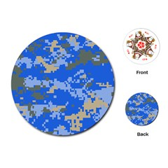 Oceanic Camouflage Blue Grey Map Playing Cards (round)  by Mariart