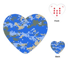 Oceanic Camouflage Blue Grey Map Playing Cards (heart)  by Mariart