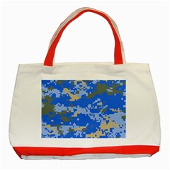 Oceanic Camouflage Blue Grey Map Classic Tote Bag (red) by Mariart