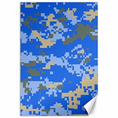 Oceanic Camouflage Blue Grey Map Canvas 12  X 18   by Mariart
