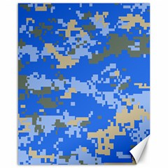 Oceanic Camouflage Blue Grey Map Canvas 16  X 20   by Mariart