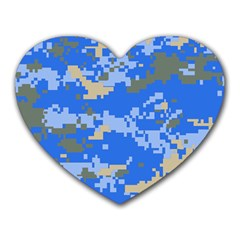 Oceanic Camouflage Blue Grey Map Heart Mousepads by Mariart
