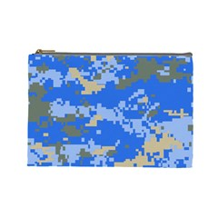 Oceanic Camouflage Blue Grey Map Cosmetic Bag (large)  by Mariart