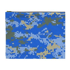 Oceanic Camouflage Blue Grey Map Cosmetic Bag (xl) by Mariart