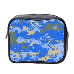Oceanic Camouflage Blue Grey Map Mini Toiletries Bag 2 Side by Mariart