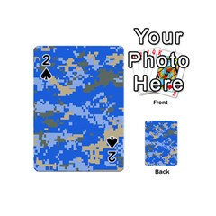 Oceanic Camouflage Blue Grey Map Playing Cards 54 (mini)  by Mariart