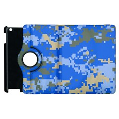 Oceanic Camouflage Blue Grey Map Apple Ipad 3/4 Flip 360 Case by Mariart