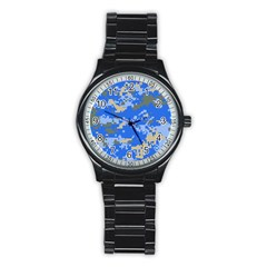 Oceanic Camouflage Blue Grey Map Stainless Steel Round Watch by Mariart
