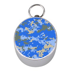 Oceanic Camouflage Blue Grey Map Mini Silver Compasses by Mariart
