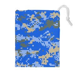 Oceanic Camouflage Blue Grey Map Drawstring Pouches (extra Large) by Mariart