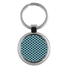 Polka Dot Blue Black Key Chains (round)  by Mariart