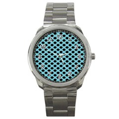 Polka Dot Blue Black Sport Metal Watch by Mariart