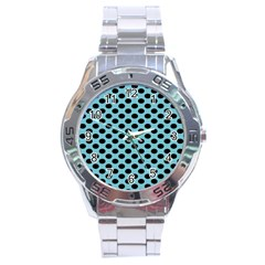 Polka Dot Blue Black Stainless Steel Analogue Watch by Mariart
