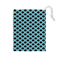Polka Dot Blue Black Drawstring Pouches (large)  by Mariart