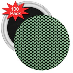 Polka Dot Green Black 3  Magnets (100 Pack) by Mariart