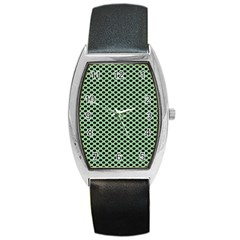 Polka Dot Green Black Barrel Style Metal Watch by Mariart