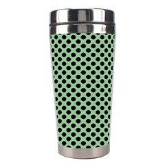 Polka Dot Green Black Stainless Steel Travel Tumblers by Mariart