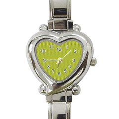 Polka Dot Green Yellow Heart Italian Charm Watch by Mariart