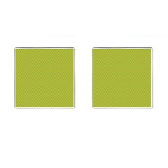 Polka Dot Green Yellow Cufflinks (square) by Mariart