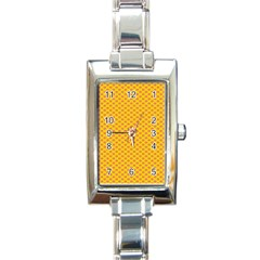 Polka Dot Orange Yellow Rectangle Italian Charm Watch by Mariart