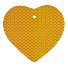 Polka Dot Orange Yellow Heart Ornament (two Sides) by Mariart