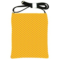 Polka Dot Orange Yellow Shoulder Sling Bags by Mariart