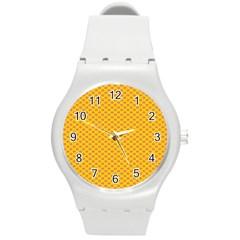 Polka Dot Orange Yellow Round Plastic Sport Watch (m) by Mariart