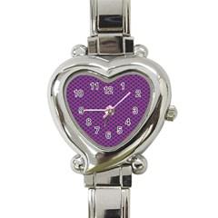 Polka Dot Purple Blue Heart Italian Charm Watch by Mariart