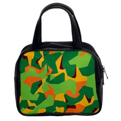 Initial Camouflage Green Orange Yellow Classic Handbags (2 Sides) by Mariart